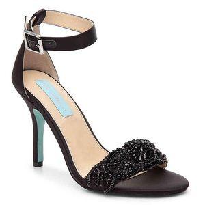 Betsey Johnson Blue • Satin Black Sandals